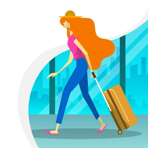 Donna piana con la passeggiata della valigia nell'illustrazione di vettore della sala d'imbarco dell'aeroporto