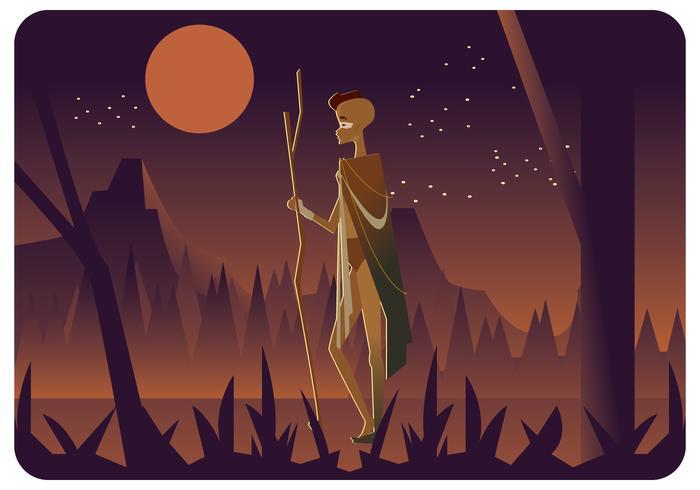 Vettore di ragazzo indigeno