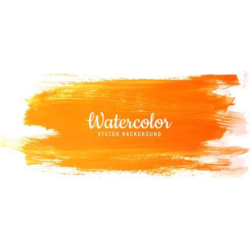 Tratti di pennello arancione su sfondo acquerello vettore