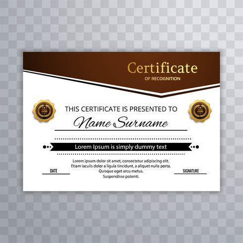 Modello di certificato e diploma elegante e design elegante vec vettore
