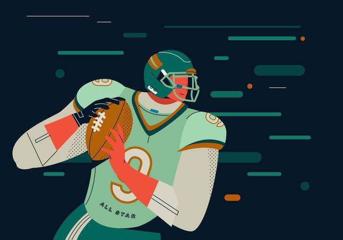Pass Quarterback del giocatore di football americano vettore