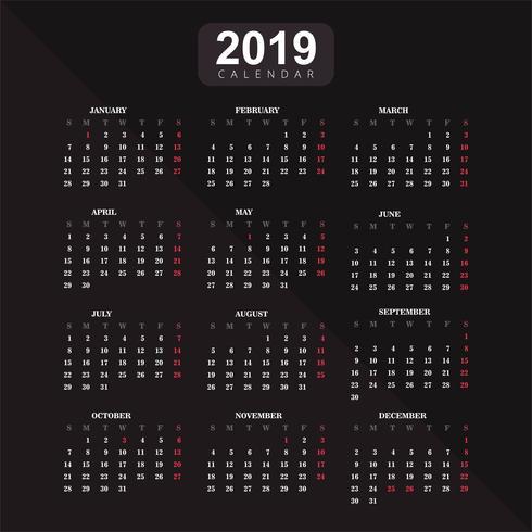 Anno 2019, sfondo vettoriale calendario