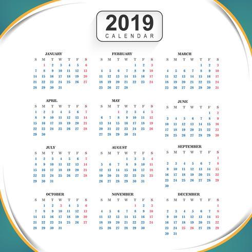 Calendario 2019 Modello con sfondo di onda vettore