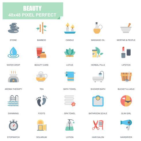 Semplice Set di icone piane di vettore correlate bellezza e benessere