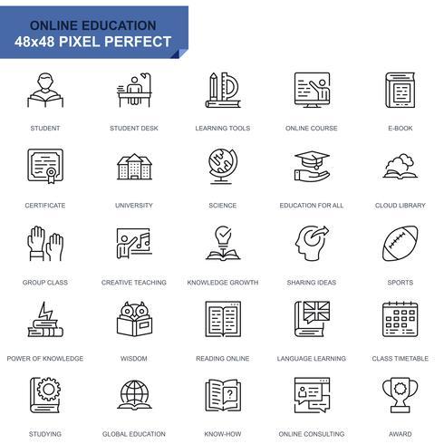 Set semplice Icone di educazione e conoscenza per applicazioni Web e mobili vettore