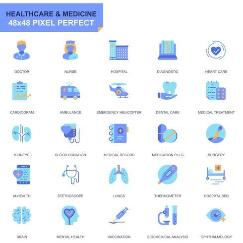 Set semplice Sanità e icone piatte mediche per applicazioni Web e mobili vettore