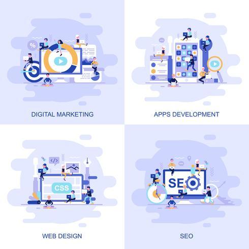 Bandiere di web moderno concetto piatto vettore