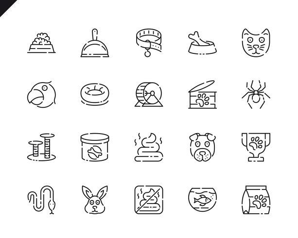 Set semplice di icone di linee di penna e animali per applicazioni Web e mobili. vettore