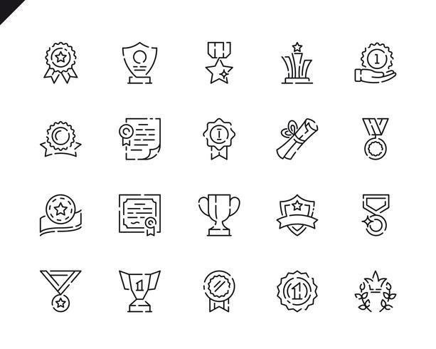 Linea semplice icone dei premi dell'insieme vettore