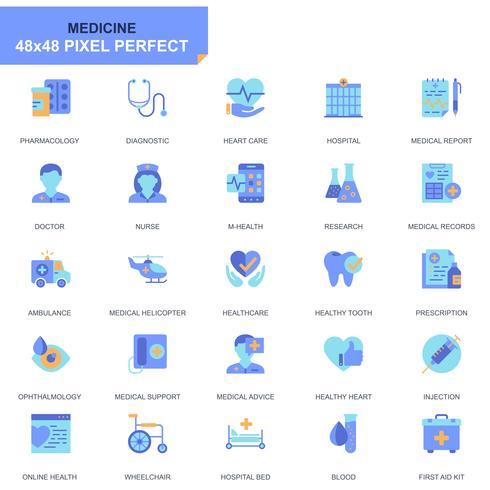 Set semplice Sanità e icone piatte mediche vettore