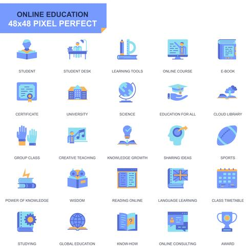 Set semplice icone piatte di educazione e conoscenza vettore