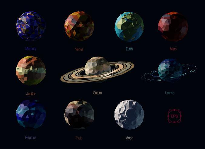 Set di pianeti poligonali vettore