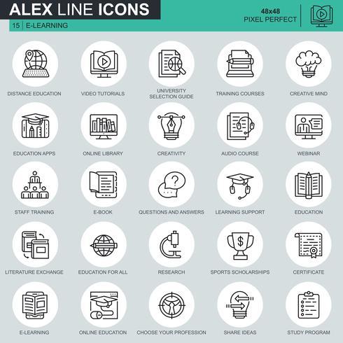 Set di icone di formazione online linea sottile vettore