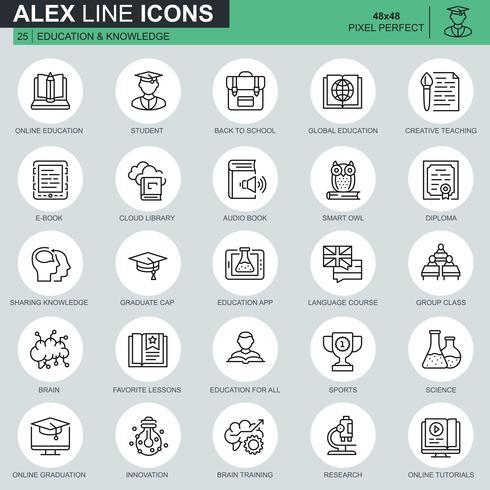 Set di icone di educazione e conoscenza linea sottile vettore