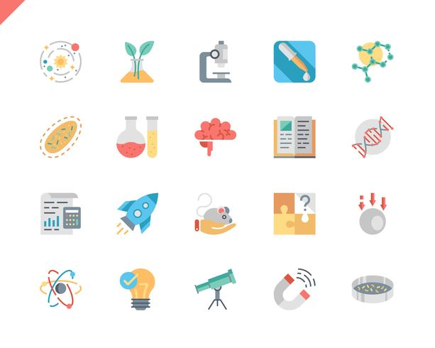 Icone piane di scienza semplice dell'insieme vettore
