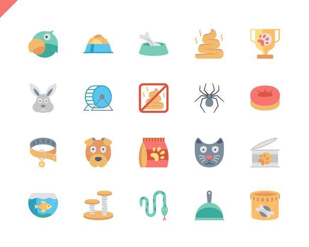 Set semplice icone piane di penna e animali vettore
