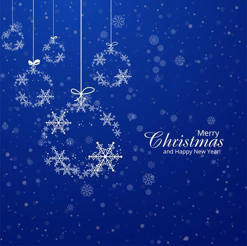 Fondo blu decorativo della palla dei fiocchi di neve della cartolina di Natale vettore