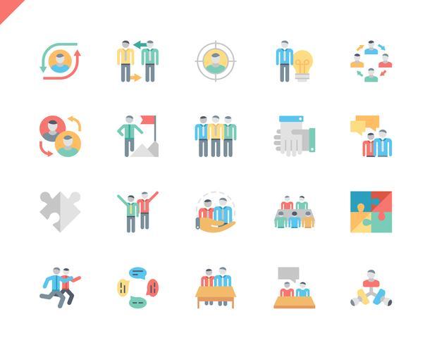 Set semplice icone piane di lavoro di squadra vettore