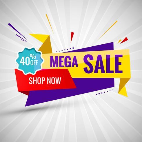 Mega vendita banner colorato design creativo del nastro vettore