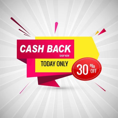 Cash back colorato banner design di vendita vettore