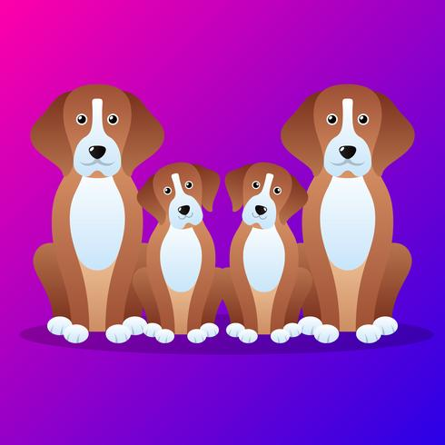 Illustrazione del fumetto della famiglia di cani carino vettore