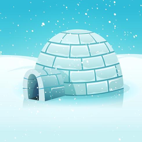 igloo di cartone animato nel paesaggio invernale polare vettore