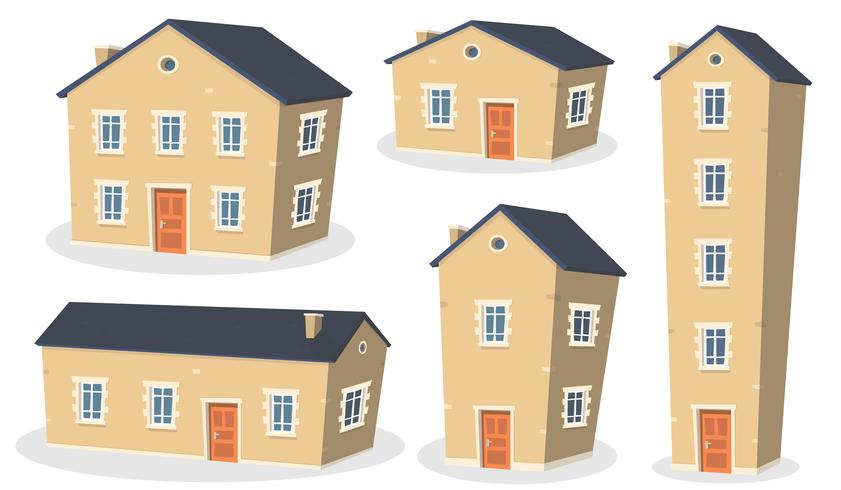 Set di casa dei cartoni animati vettore