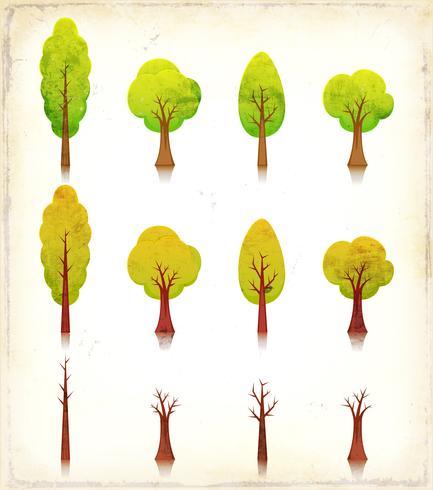 Set di icone di alberi grunge vettore
