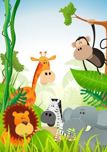 Sfondo di animali selvatici vettore