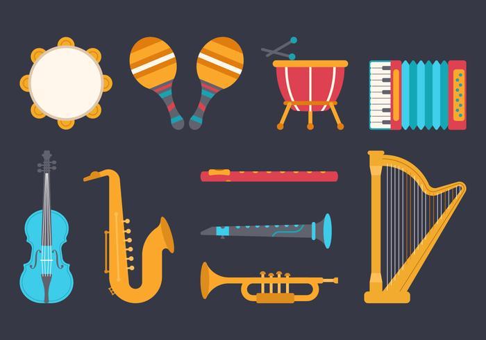 Strumenti musicali Knolling vettore