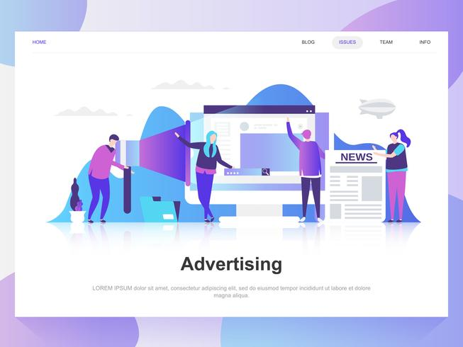 Modello di pagina di destinazione pubblicitaria e promozionale vettore