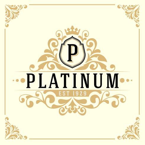 Modello di logo del monogramma di lusso vintage vettore