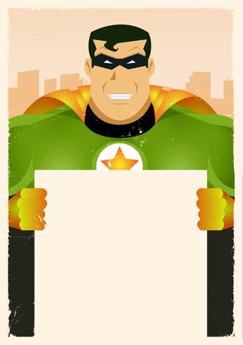 comico super eroe con cartello vettore