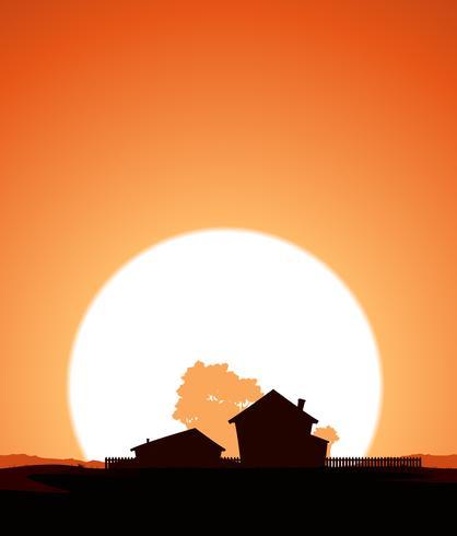 Fattoria nel tramonto vettore