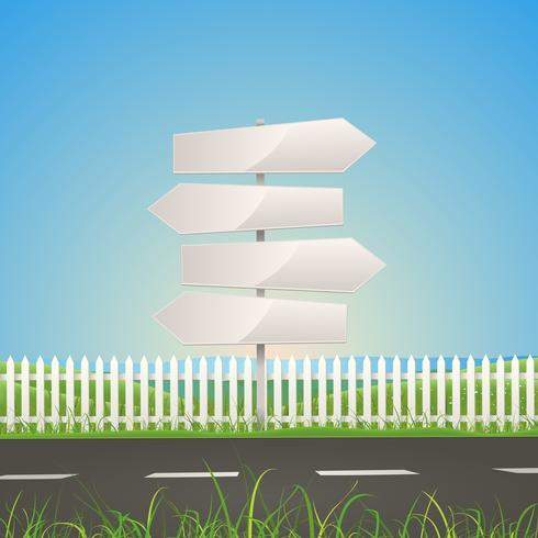 Primavera o estate Road With White Arrow Signs vettore