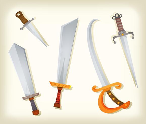 Spade d'epoca, coltelli, broadsword e set di sciabole vettore