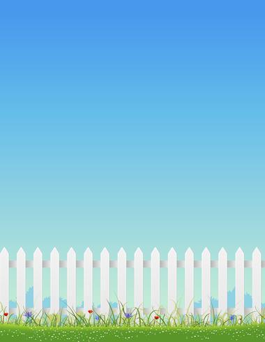 Recinzione bianca e cielo blu vettore