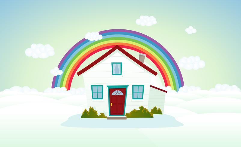 Casa tra le nuvole con arcobaleno vettore