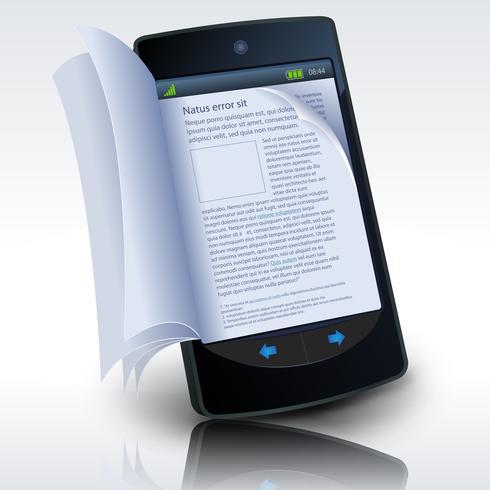 E-Book per smartphone vettore