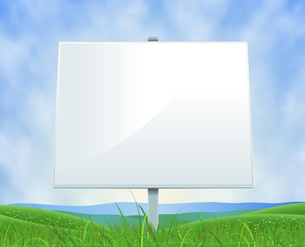 Primavera o estate paesaggio cartellone bianco vettore