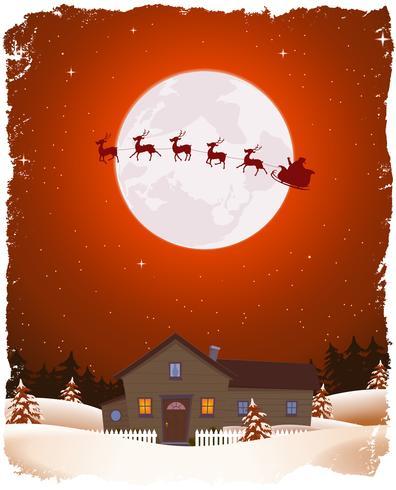 Paesaggio rosso di Natale e Santa volante vettore