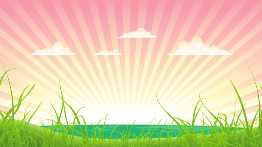 Primavera o estate paesaggio vettore