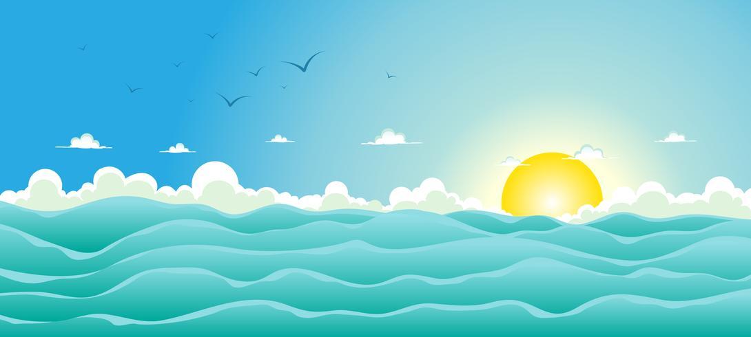 Sfondo oceano estate vettore