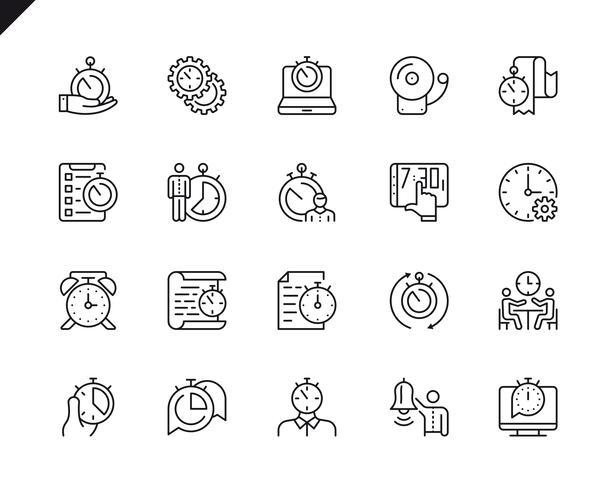 Semplice set di icone di linea di vettore relative gestione del tempo