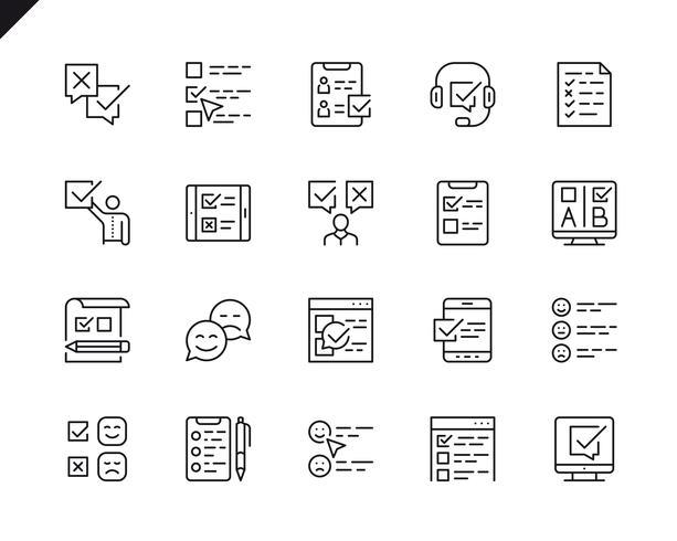 Semplice set di icone di linea di vettore correlate indagine