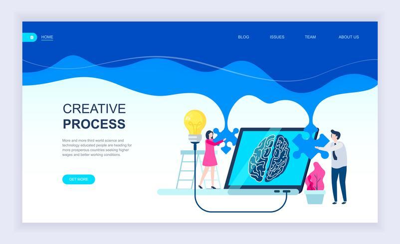 Moderno concetto di design piatto di processo creativo vettore