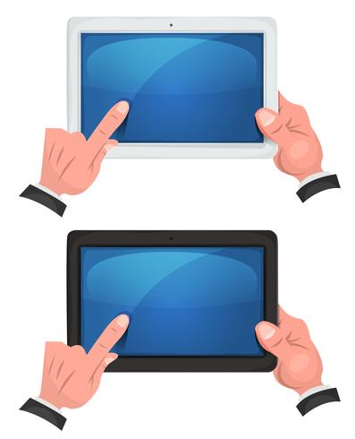 Mani usando il touch screen sulla tavoletta digitale vettore