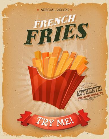 Poster di patatine fritte d'epoca e grunge vettore