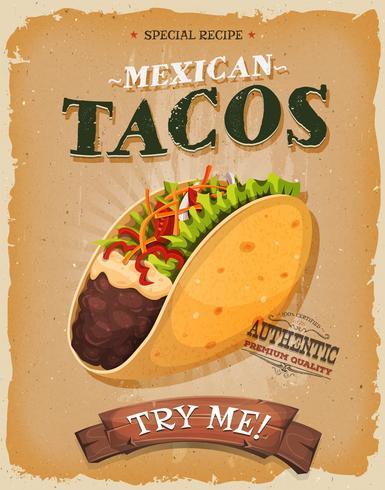 Poster di tacos messicani vintage e grunge vettore