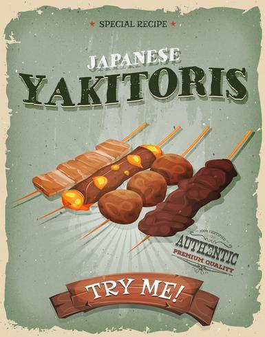 Grunge e vintage giapponese Yakitoris Poster vettore